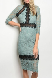 Latiste Green Lace Dress - Front cropped