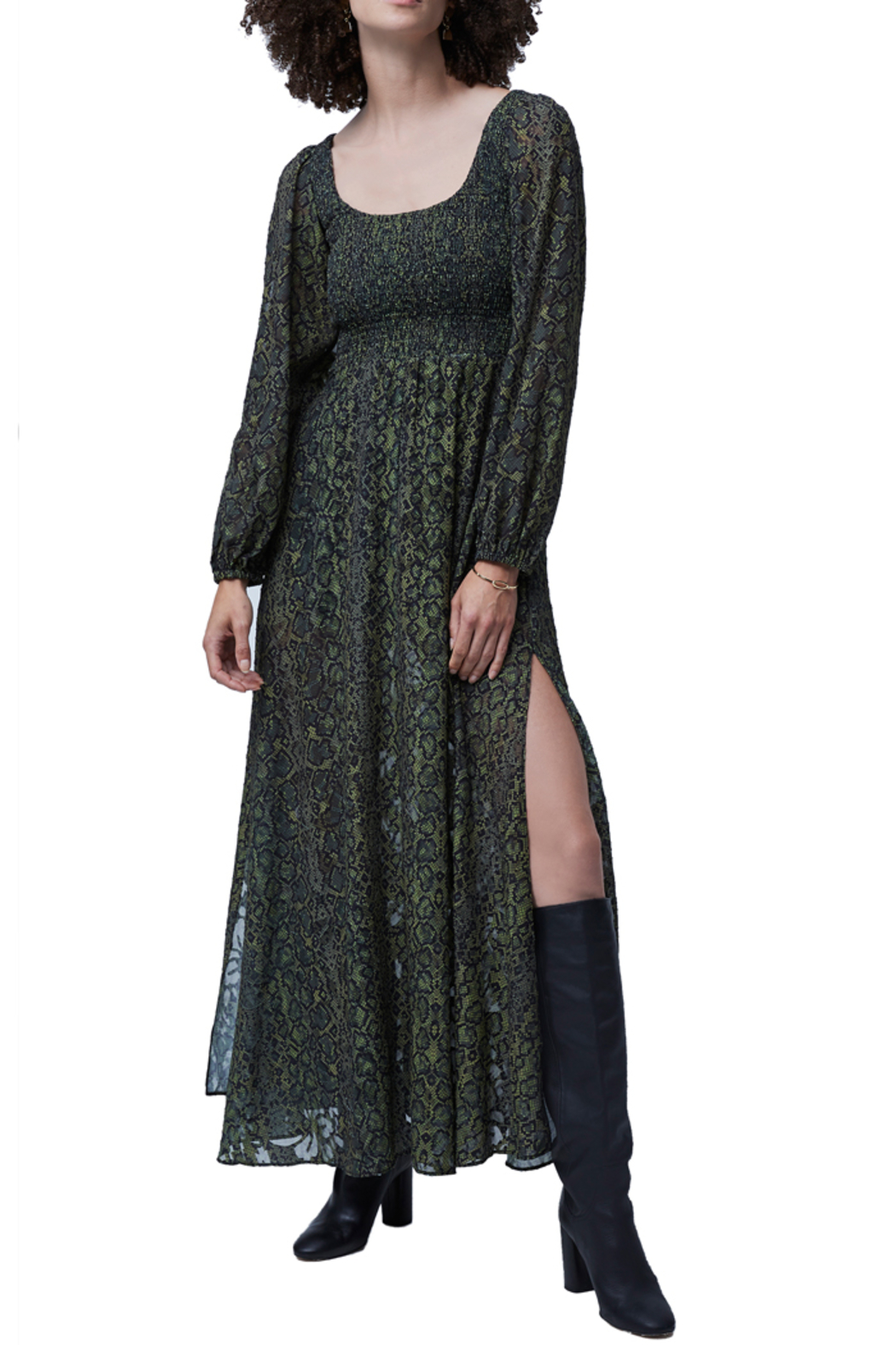 French Connection Green Multi Smocked Maxi Dress - Main Image