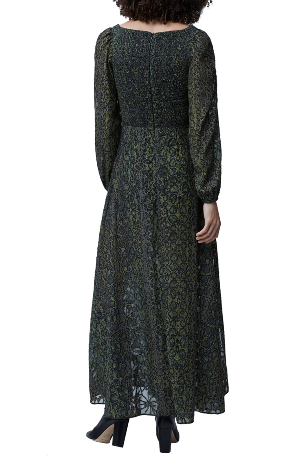 French Connection Green Multi Smocked Maxi Dress - Back Cropped Image