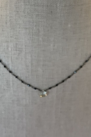 Ela Rae Green mystic black spinel necklace with aquamarine stone - Front cropped