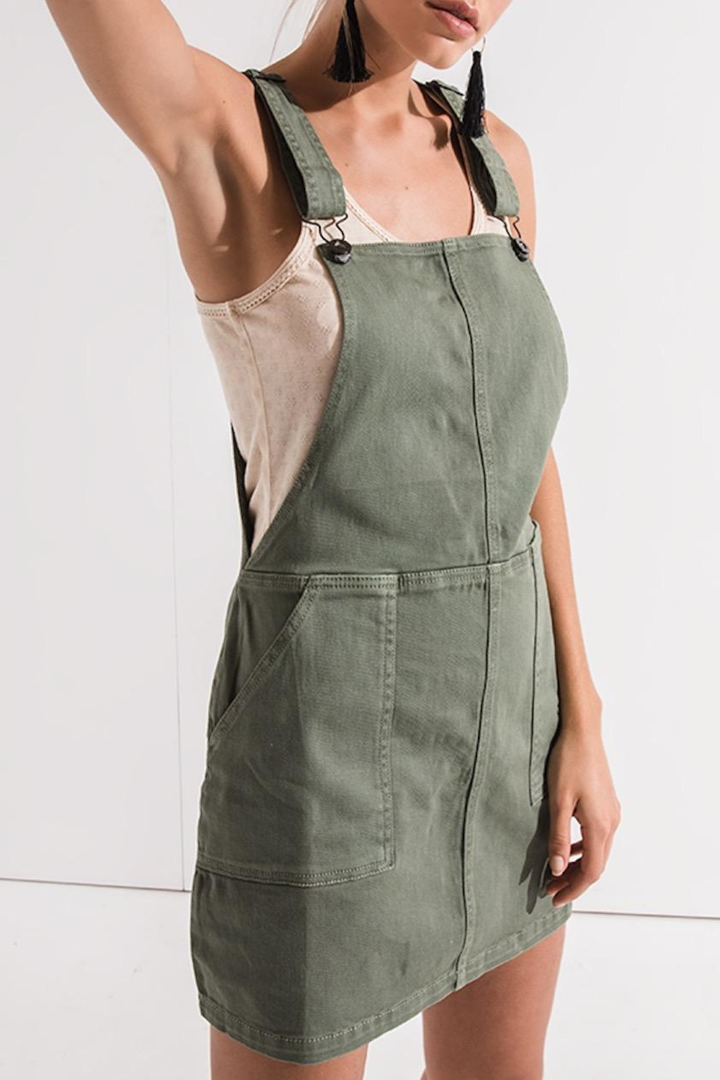 Others Follow  Green Overall Dress - Back Cropped Image