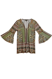 Melissa Paige Green Paisley Top - Front full body