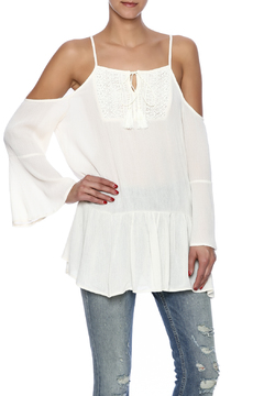 Green Pea Cold Shoulder Top - Product List Image