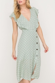 Lush Clothing  Green Polka-Dit Midi-Dress - Front cropped