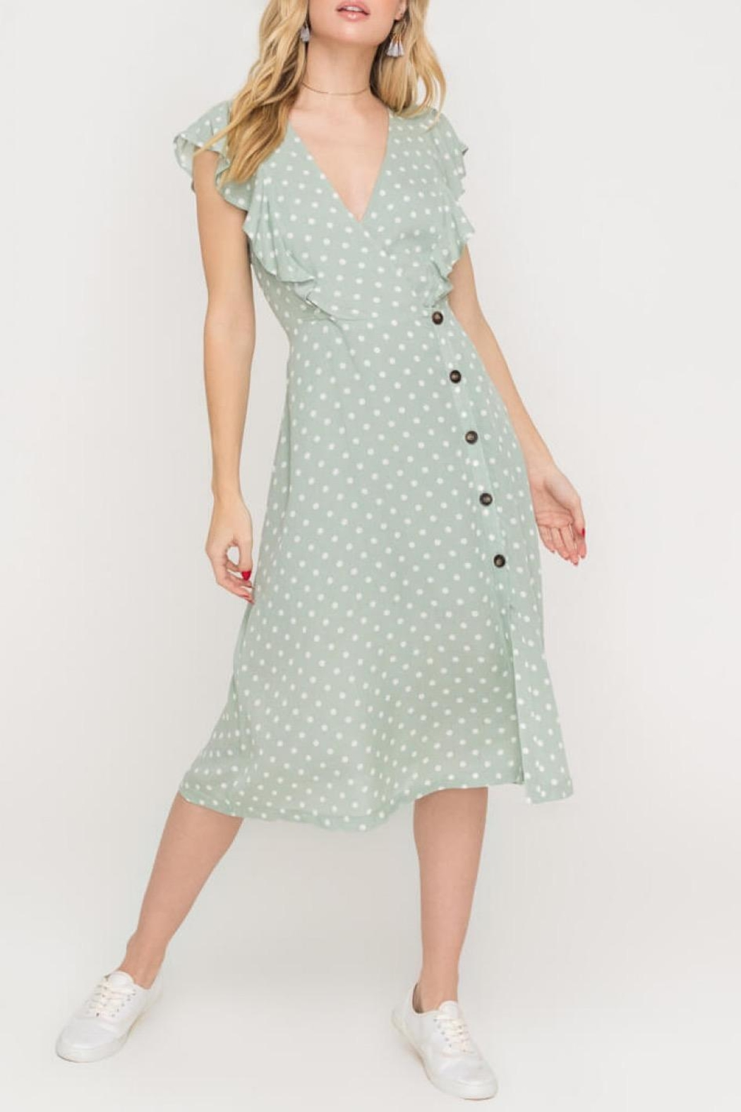 Lush Clothing  Green Polka-Dit Midi-Dress - Side Cropped Image
