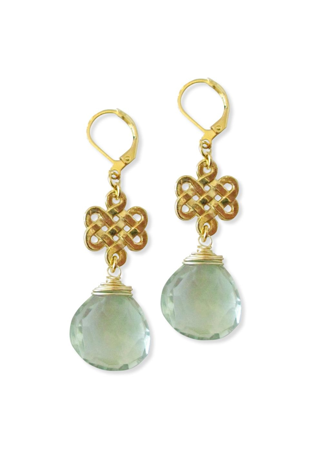 Malia Jewelry Green-Quartz Charm Earrings - Front Cropped Image