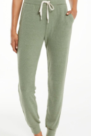 z supply Green Ribbed Comfy Joggers - Front cropped