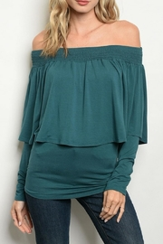 Vava by Joy Hahn Green Ruffle Blouse - Product Mini Image