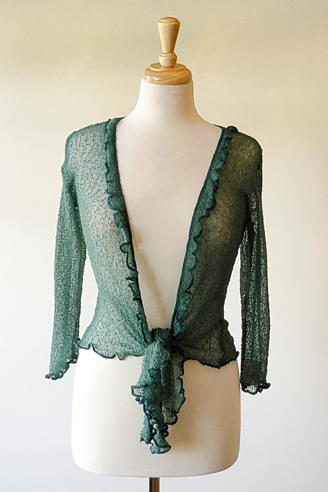 Scarborough Fair Green Ruffle Cardigan - Front Cropped Image