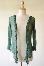 Scarborough Fair Green Ruffle Cardigan - Front full body