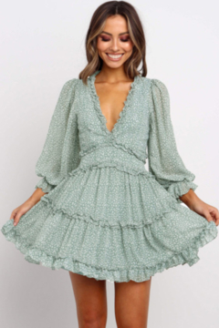 The Emerald Fox Boutique Ruffle Detailing Open Back Floral Dress - Product List Image