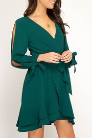 The Vintage Valet Green Ruffle Dress - Product Mini Image