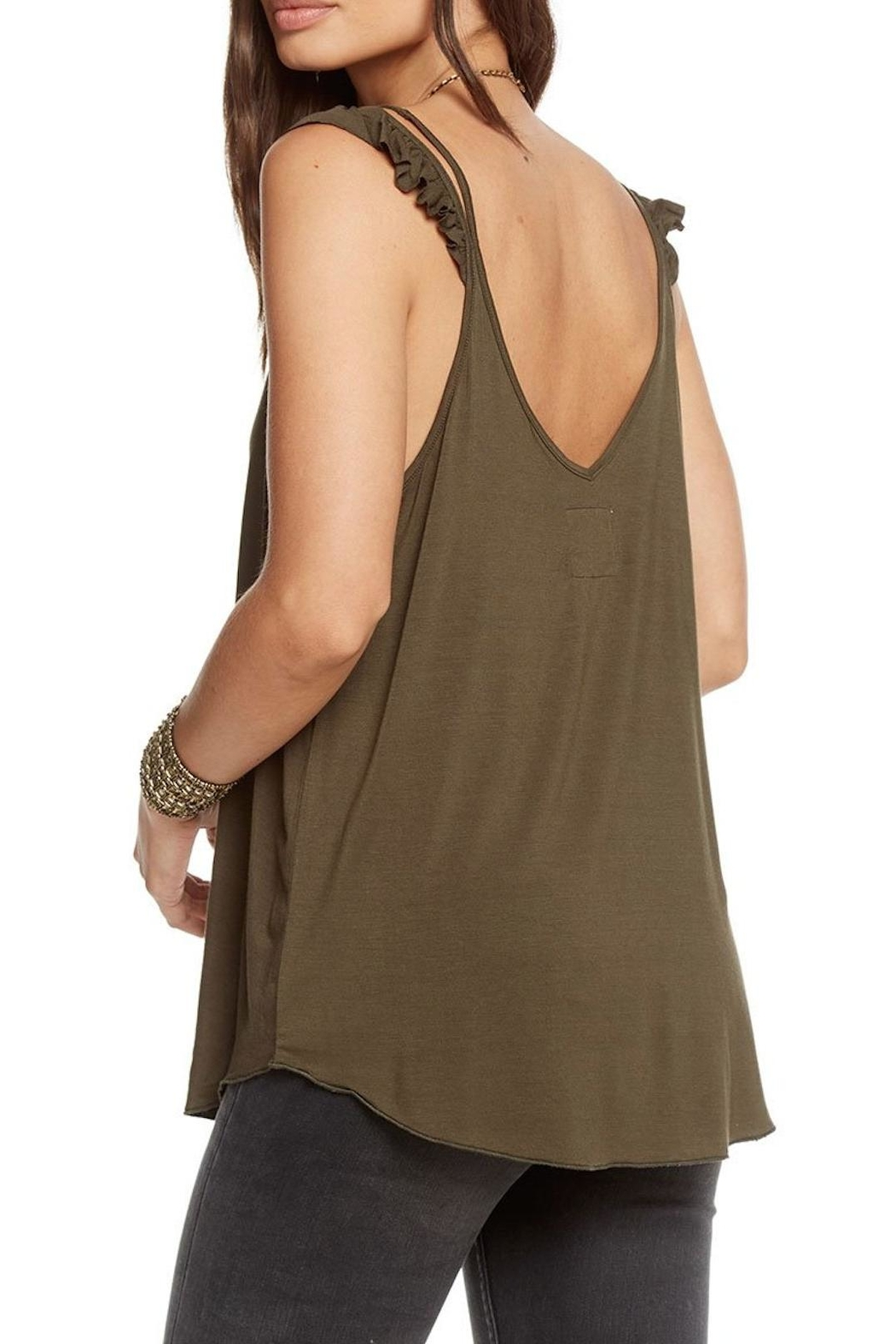 Chaser Green Ruffle Tank - Front Full Image