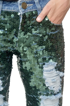 Mua Mua Dolls Green Sequined Jeans - Alternate List Image