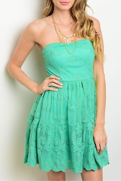 Soieblu Green Lace Strapless Dress - Product List Image