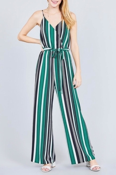 Active Basic Green Stripe Jumpsuit - Product List Image