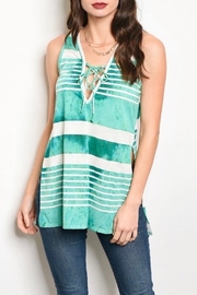Tea n Rose Green Stripe Tank - Product Mini Image