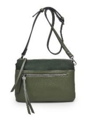 Street Level Green Suede Crossbody - Front cropped