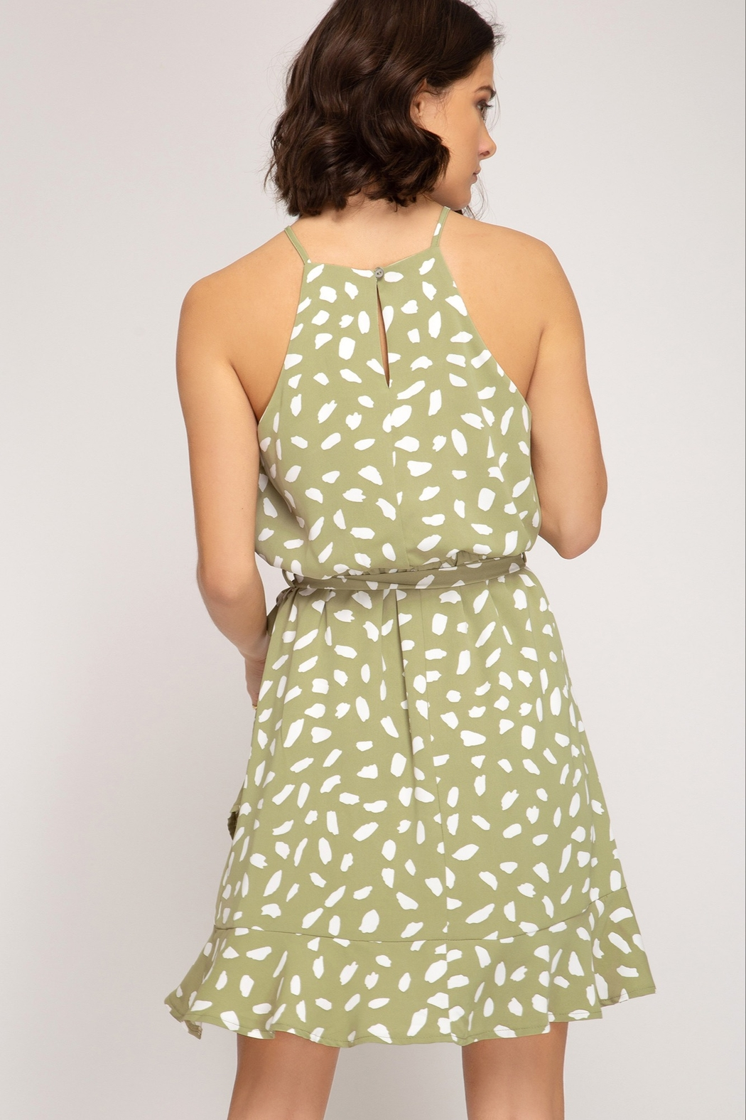 She and Sky Green Tea Bubble Dress - Front Full Image