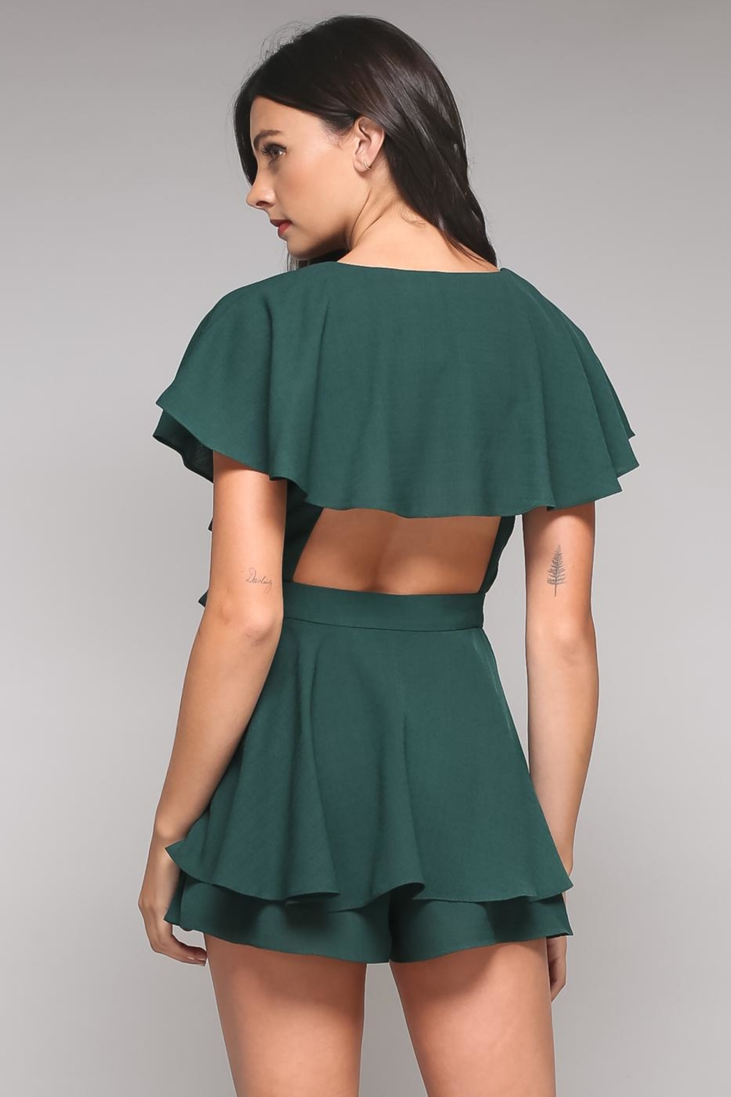 Do & Be Green Tiered Romper - Front Full Image