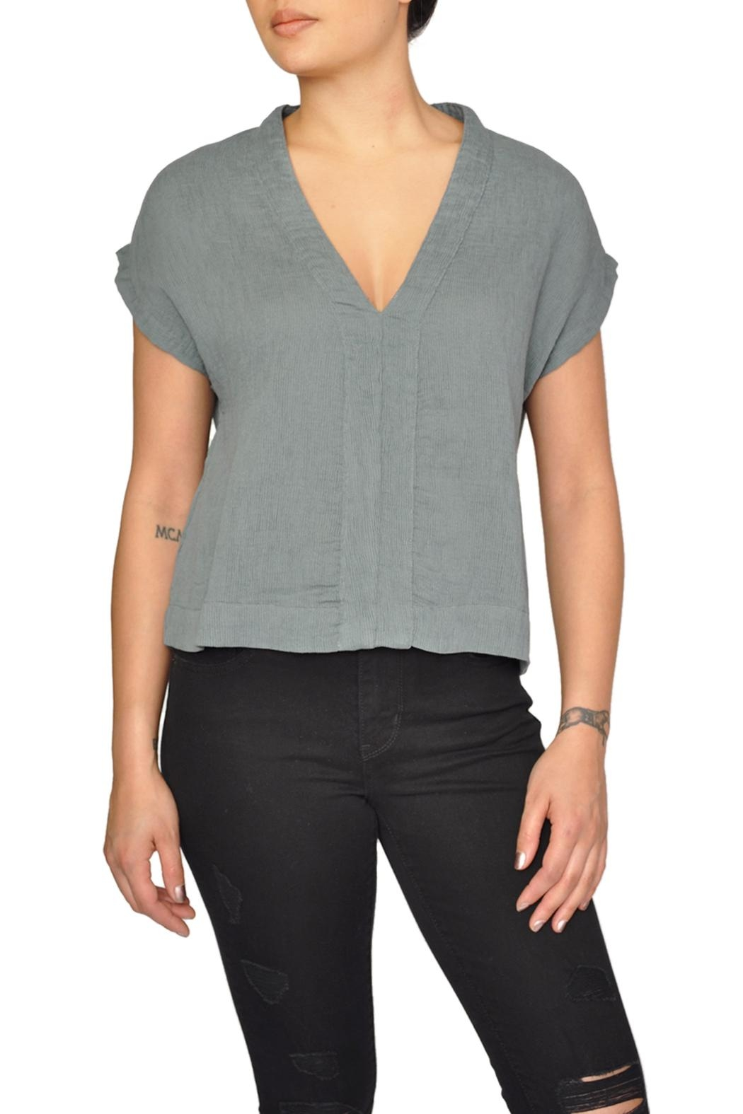 LACAUSA Green V-Neck Top - Main Image