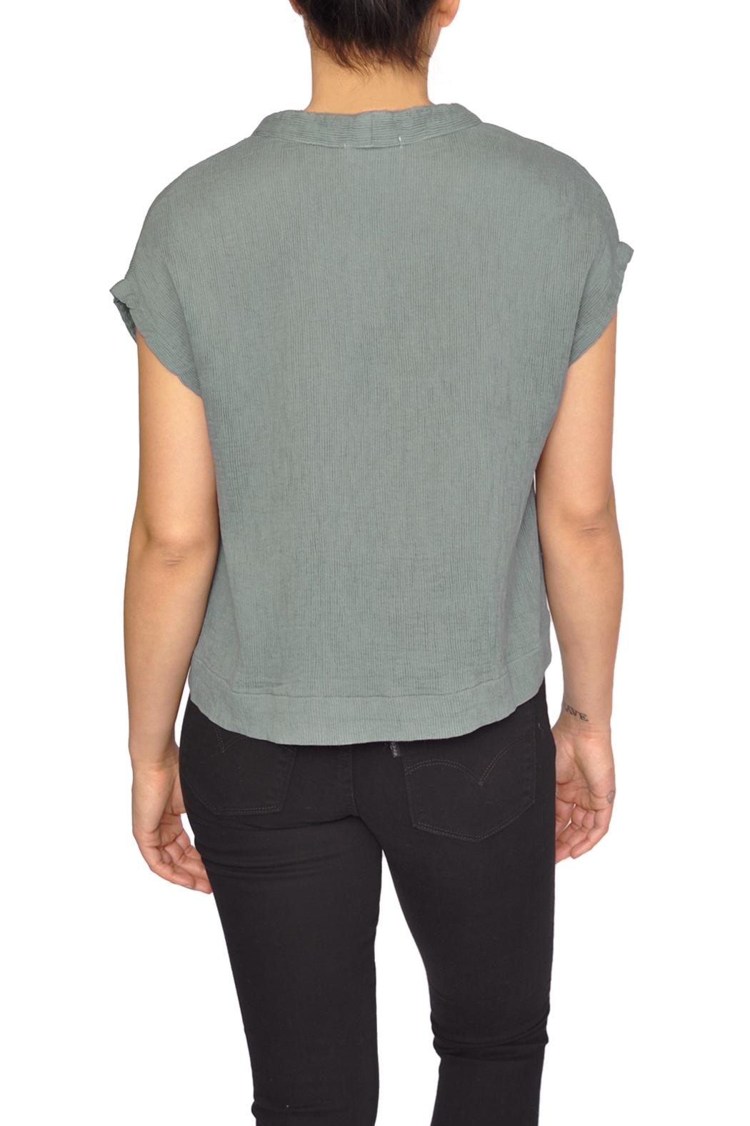LACAUSA Green V-Neck Top - Side Cropped Image