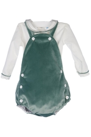 Luli & Me Green-Velvet Bubble & Shirt-Set - Front cropped