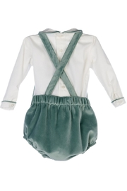 Luli & Me Green-Velvet Bubble & Shirt-Set - Front full body