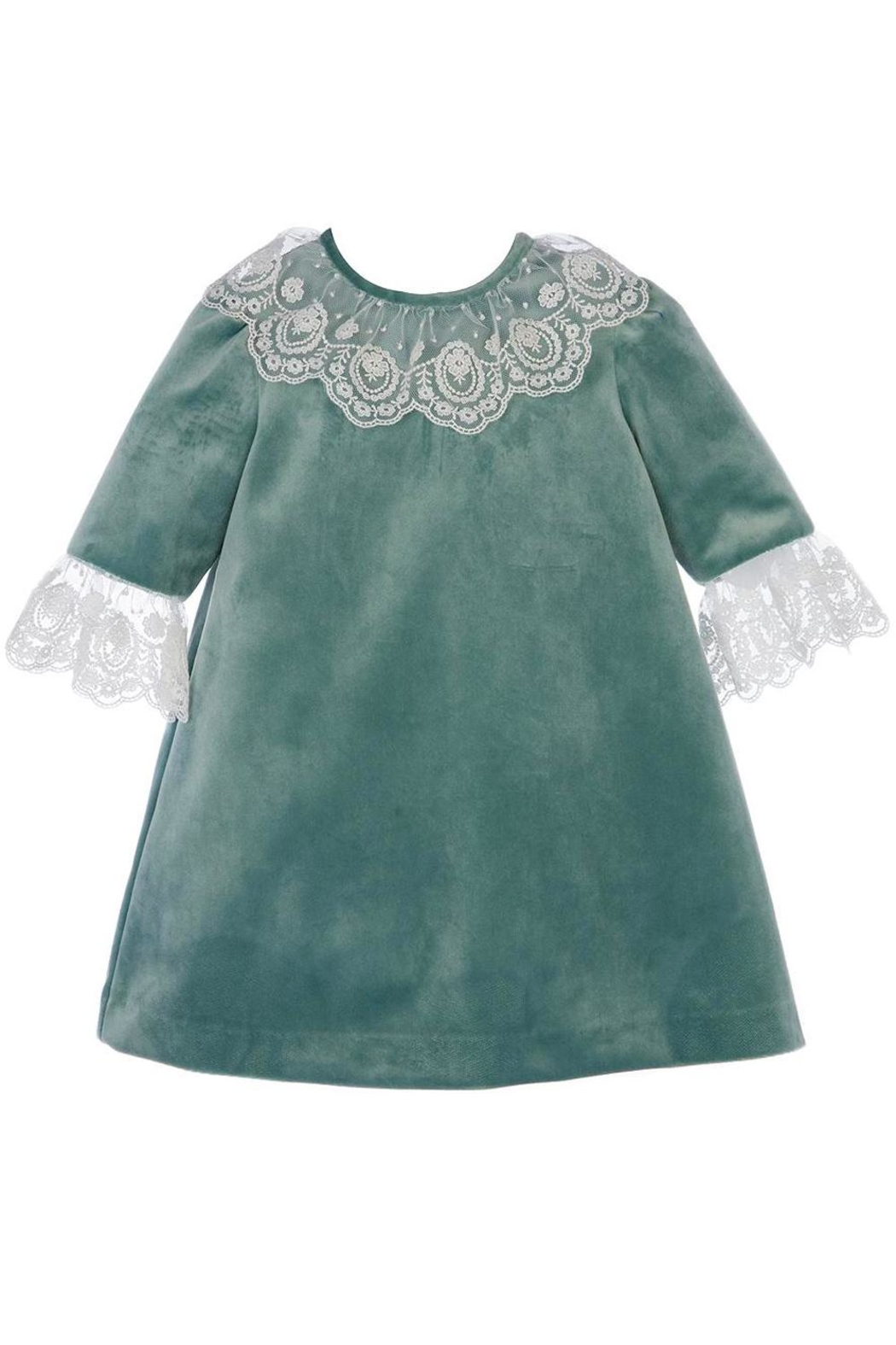 Luli & Me Green-Velvet Dress & Lace - Front Full Image