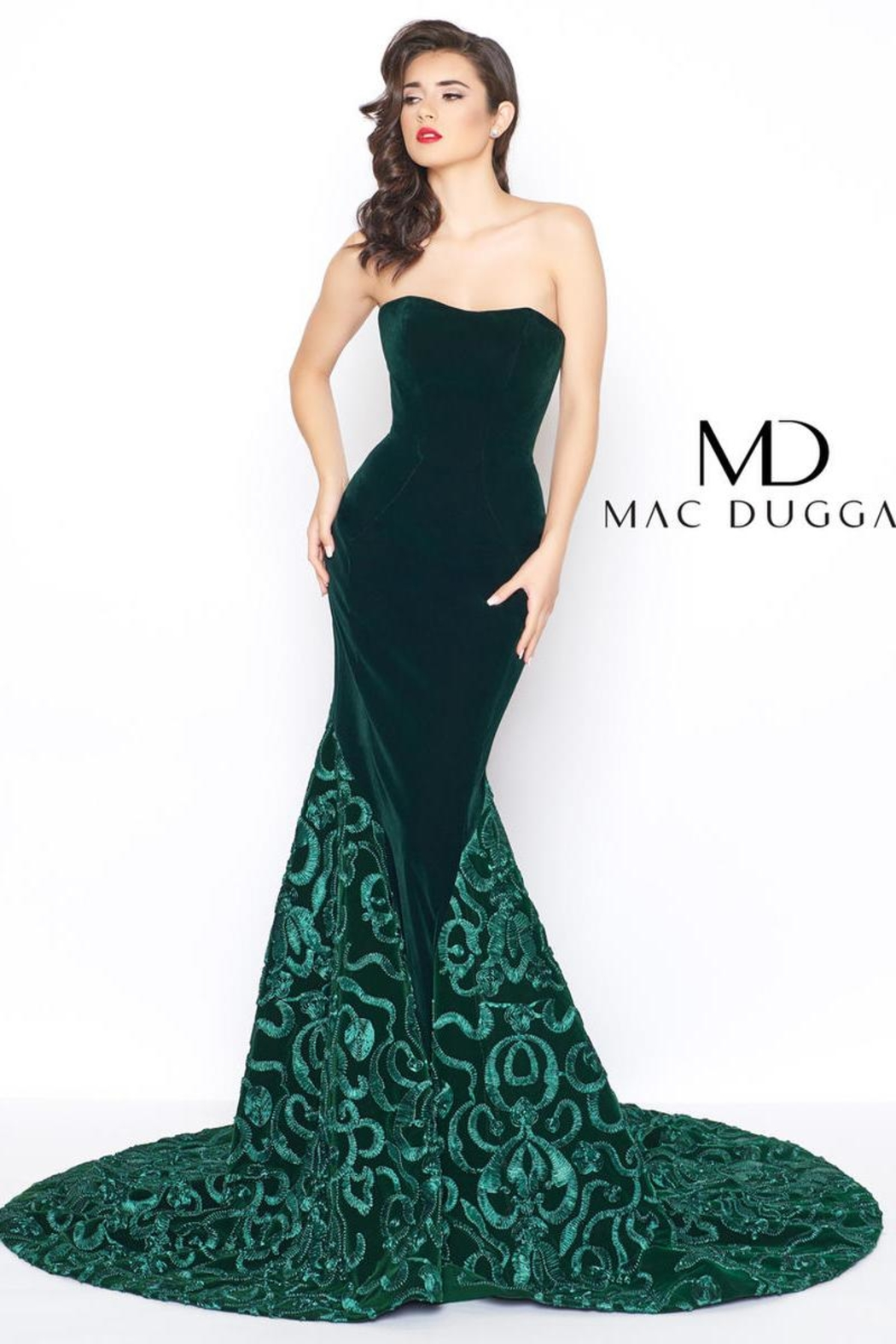 Mac Duggal Green Velvet Gown - Front Cropped Image