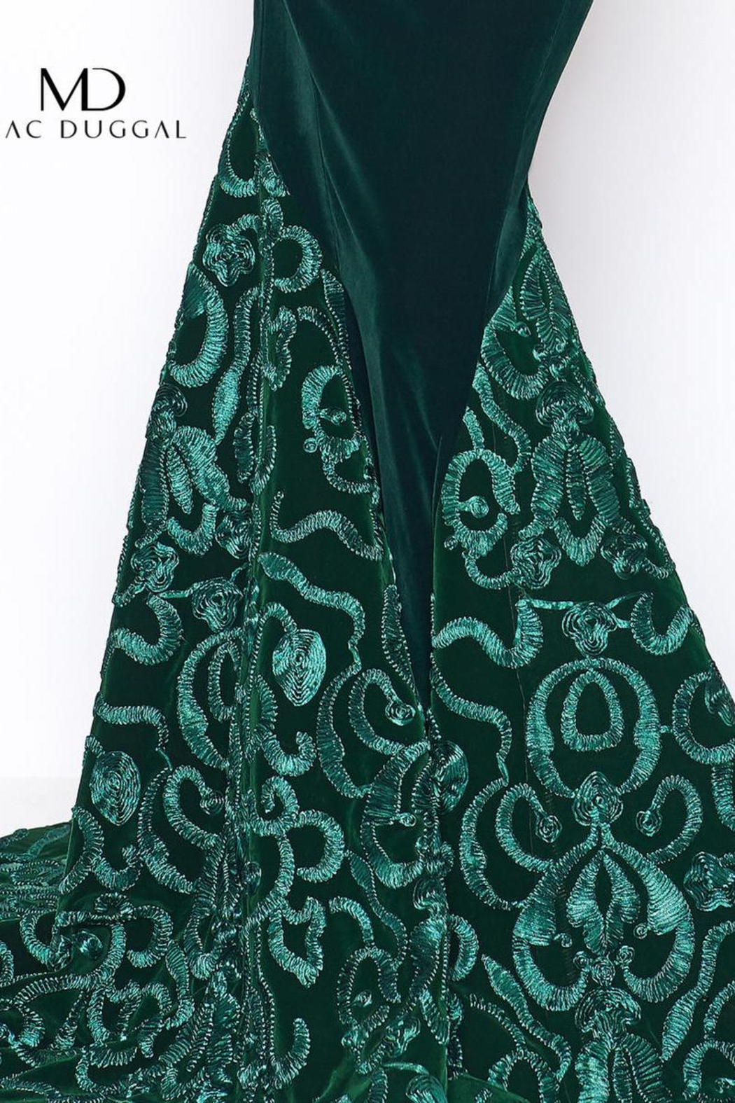 Mac Duggal Green Velvet Gown - Side Cropped Image