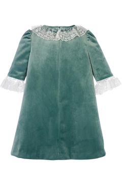 Luli & Me Green-Velvet Pleat-Dress & Ivory-Lace - Alternate List Image