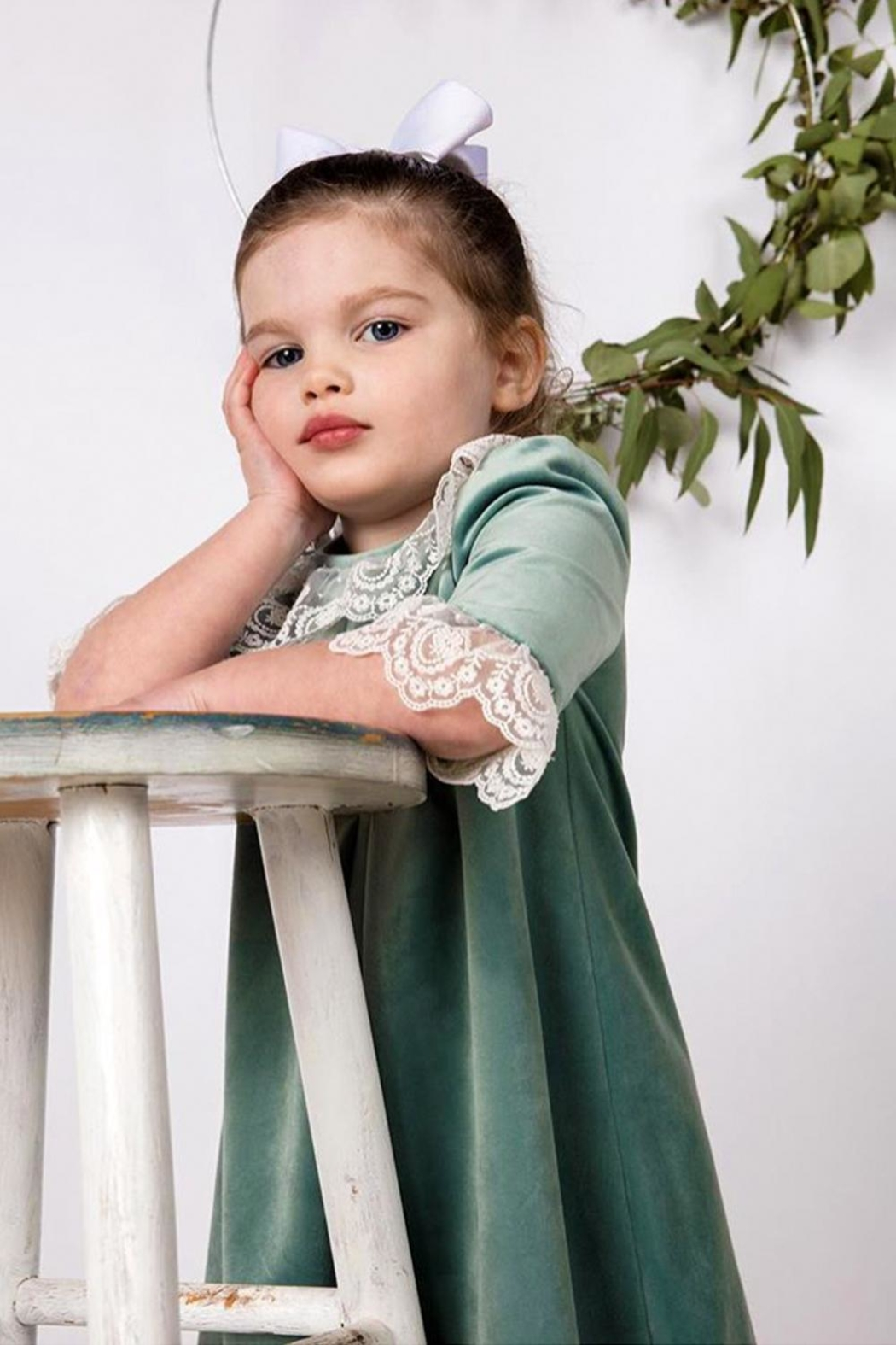 Luli & Me Green-Velvet Pleat-Dress & Ivory-Lace - Main Image