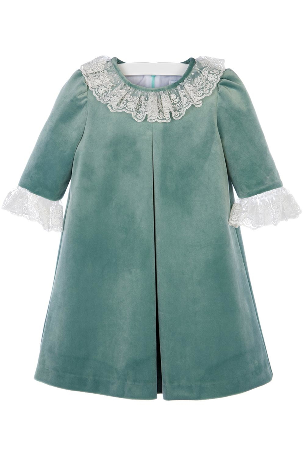 Luli & Me Green-Velvet Pleat-Dress & Ivory-Lace - Front Full Image