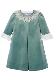 Luli & Me Green-Velvet Pleat-Dress & Ivory-Lace - Front full body
