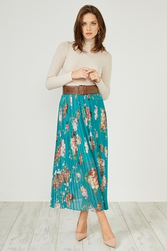 Urban Touch Greenfloral Pleated Midiskirt - Product List Image