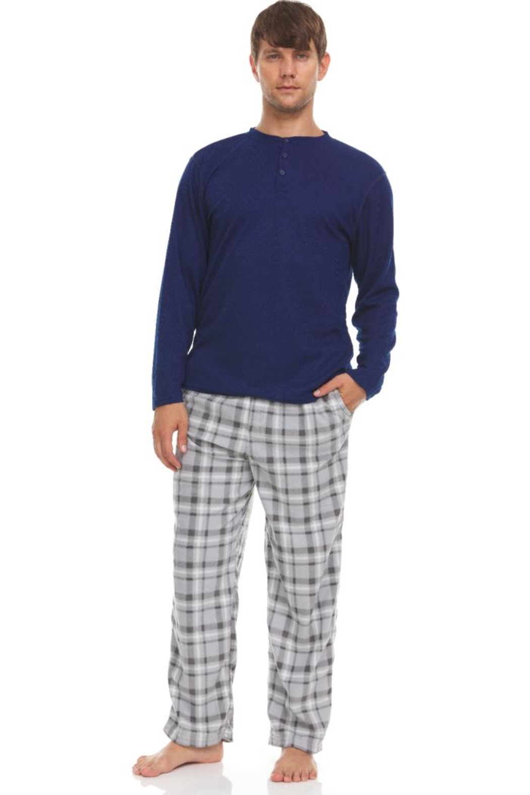 Greg Norman Thermal Top & Fleece Pant Lounge Set - Front Cropped Image