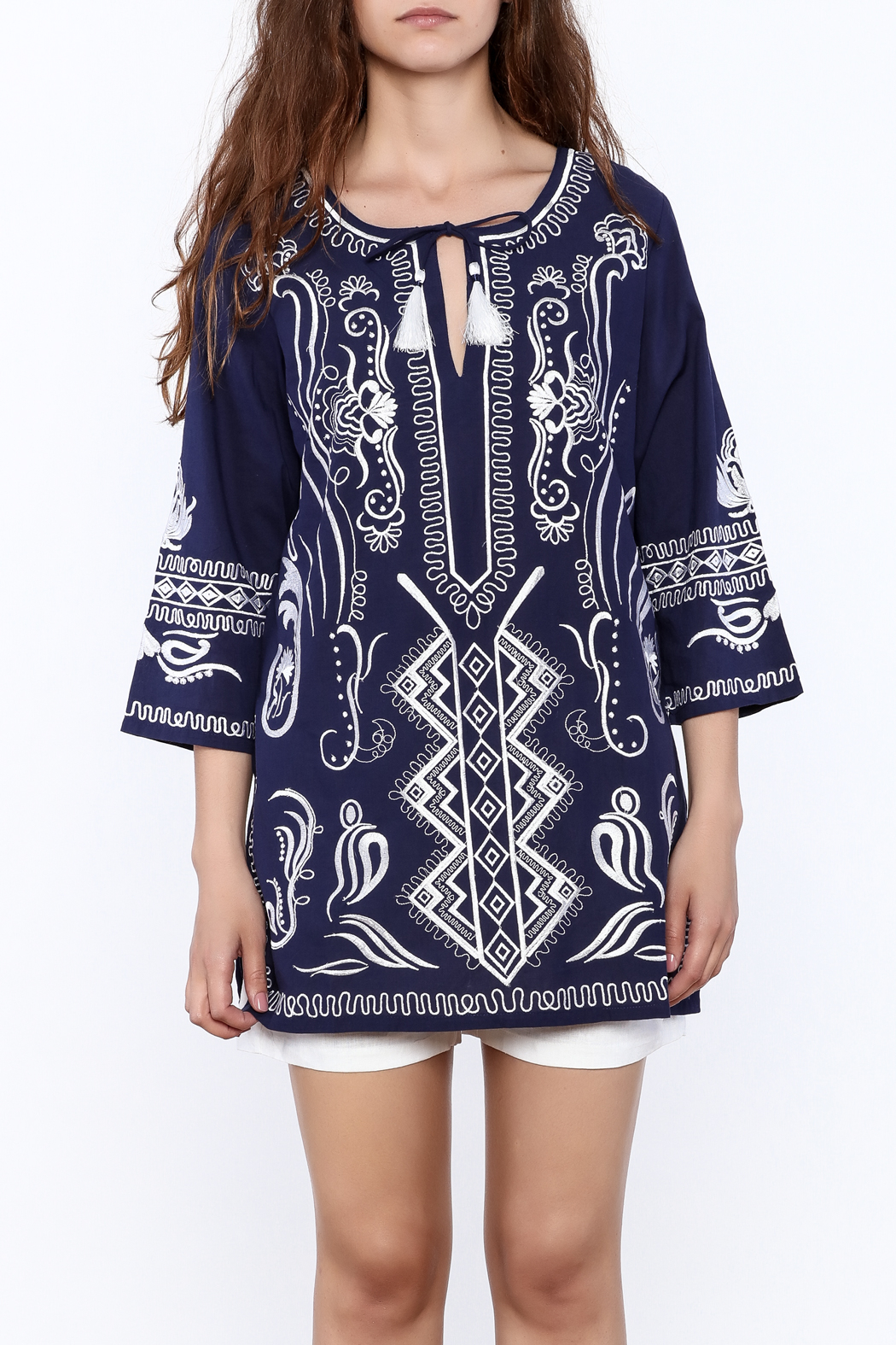 Gretchen Scott Navy Embroidered Tunic Top - Side Cropped Image