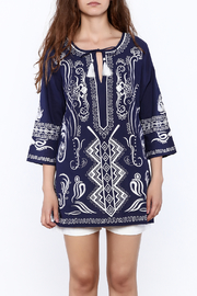 Gretchen Scott Navy Embroidered Tunic Top - Side cropped