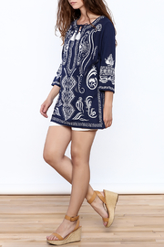 Gretchen Scott Navy Embroidered Tunic Top - Front full body