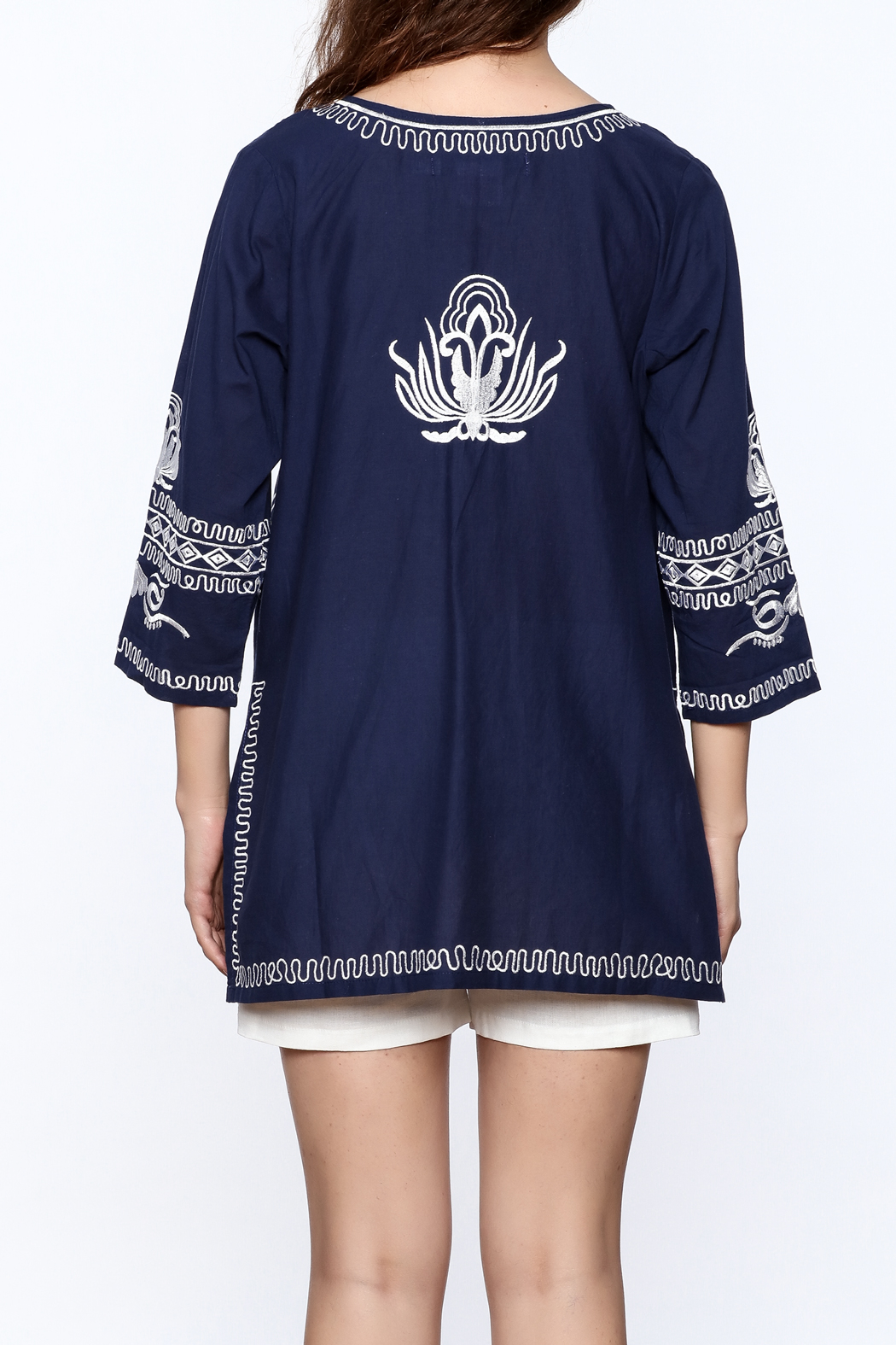 Gretchen Scott Navy Embroidered Tunic Top - Back Cropped Image