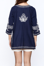Gretchen Scott Navy Embroidered Tunic Top - Back cropped