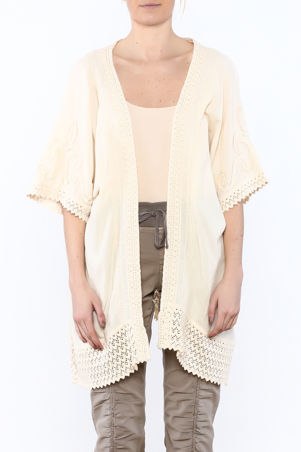 Gretty Zuegar Beige Crochet Lace Cardigan - Side Cropped Image