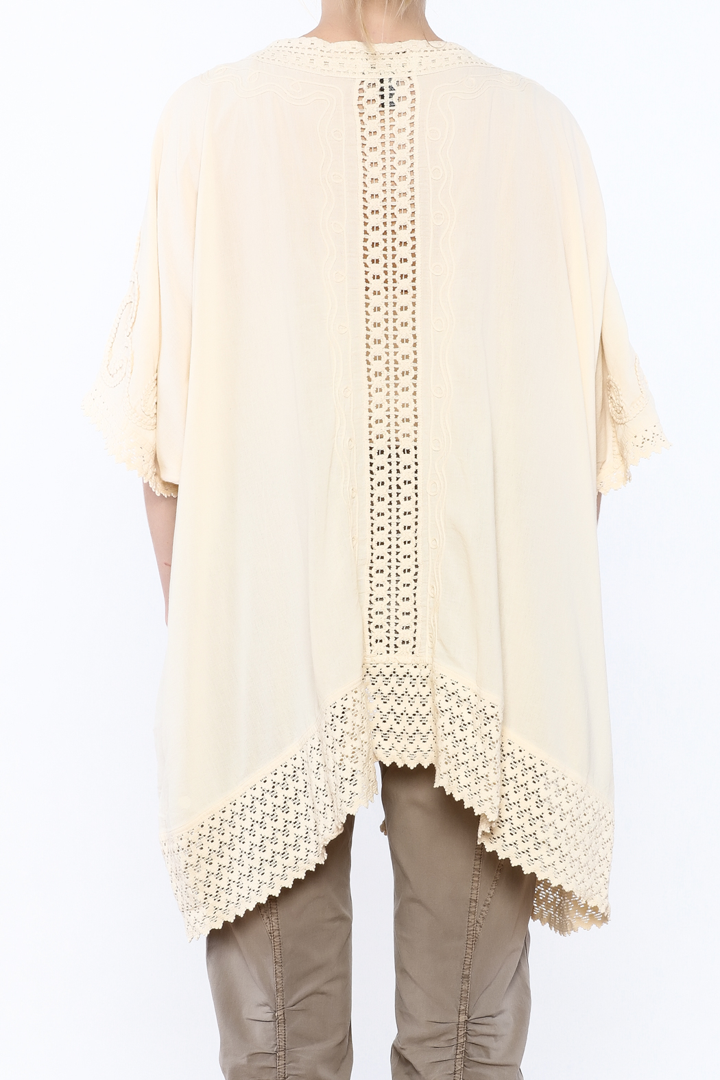 Gretty Zuegar Beige Crochet Lace Cardigan - Back Cropped Image