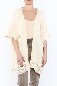 Gretty Zuegar Beige Crochet Lace Cardigan - Product List Image