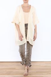 Gretty Zuegar Beige Crochet Lace Cardigan - Front full body
