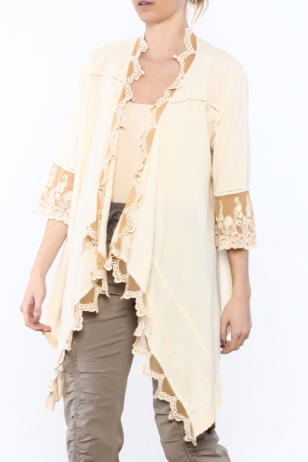 Gretty Zuegar Beige Embroidered Lace Cardigan from Cambria by New ...