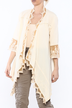 Gretty Zuegar Beige Embroidered Lace Cardigan - Product List Image