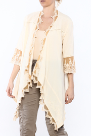Gretty Zuegar Beige Embroidered Lace Cardigan - Product Mini Image
