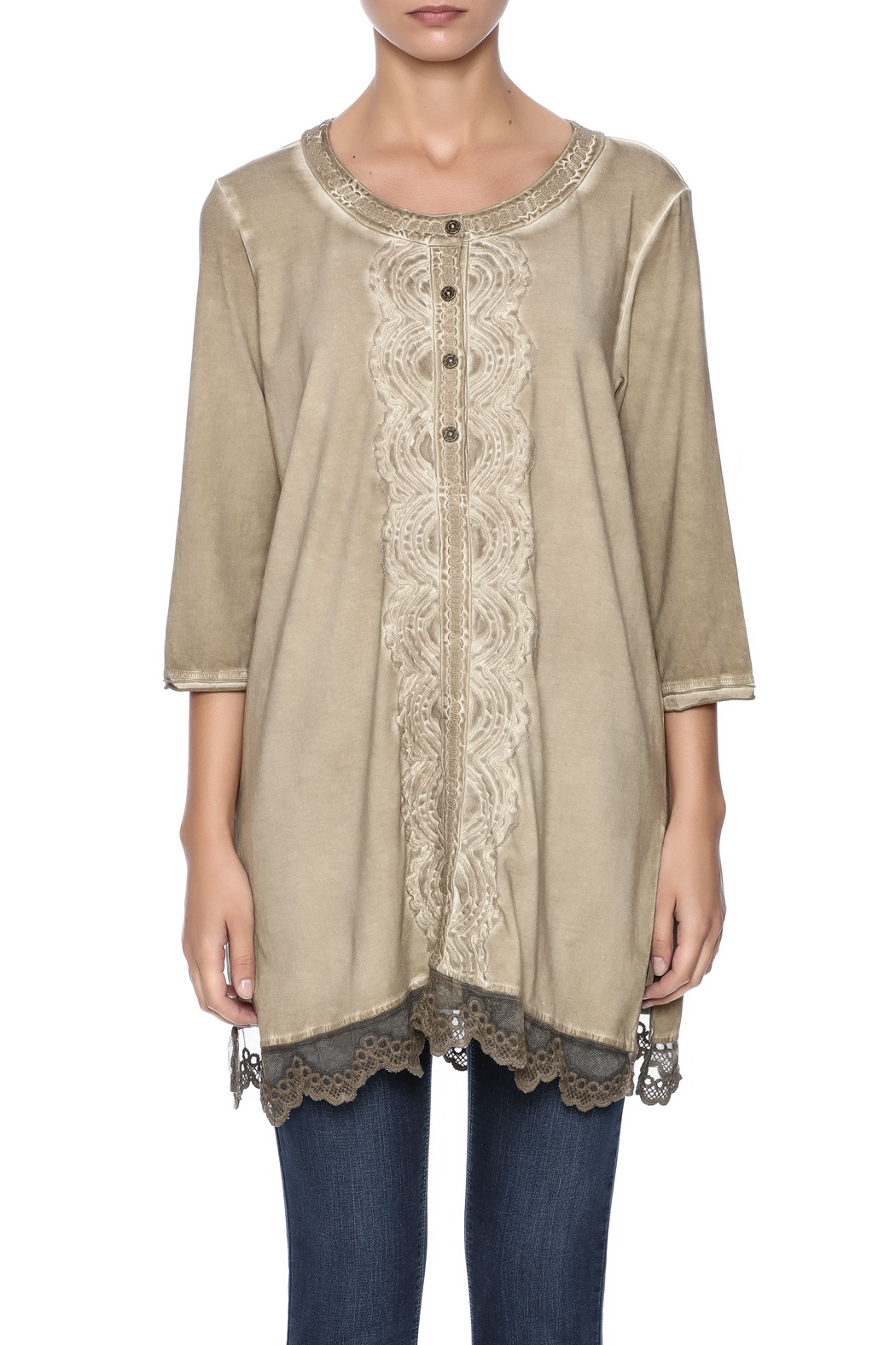 Gretty Zuegar Embroidered Sand Tunic - Side Cropped Image